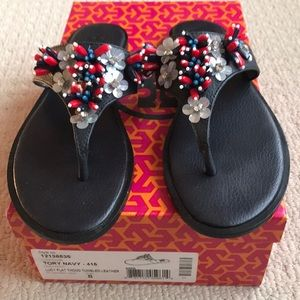 Tory Burch red white blue jeweled sandals 8 navy